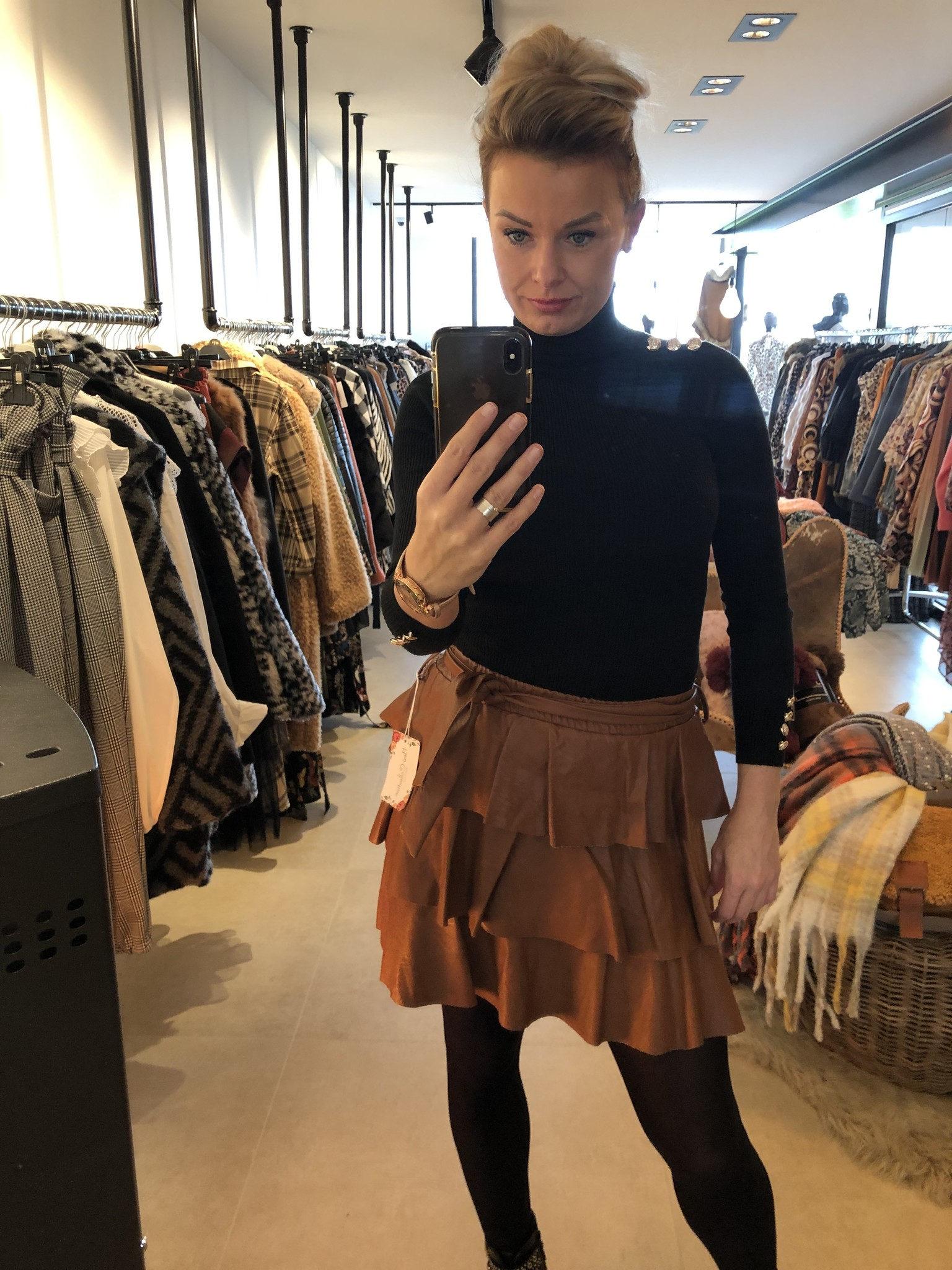 Leather Tu skirt Lucile brown