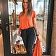 Anna V-Neck T-Shirt Dull Orange