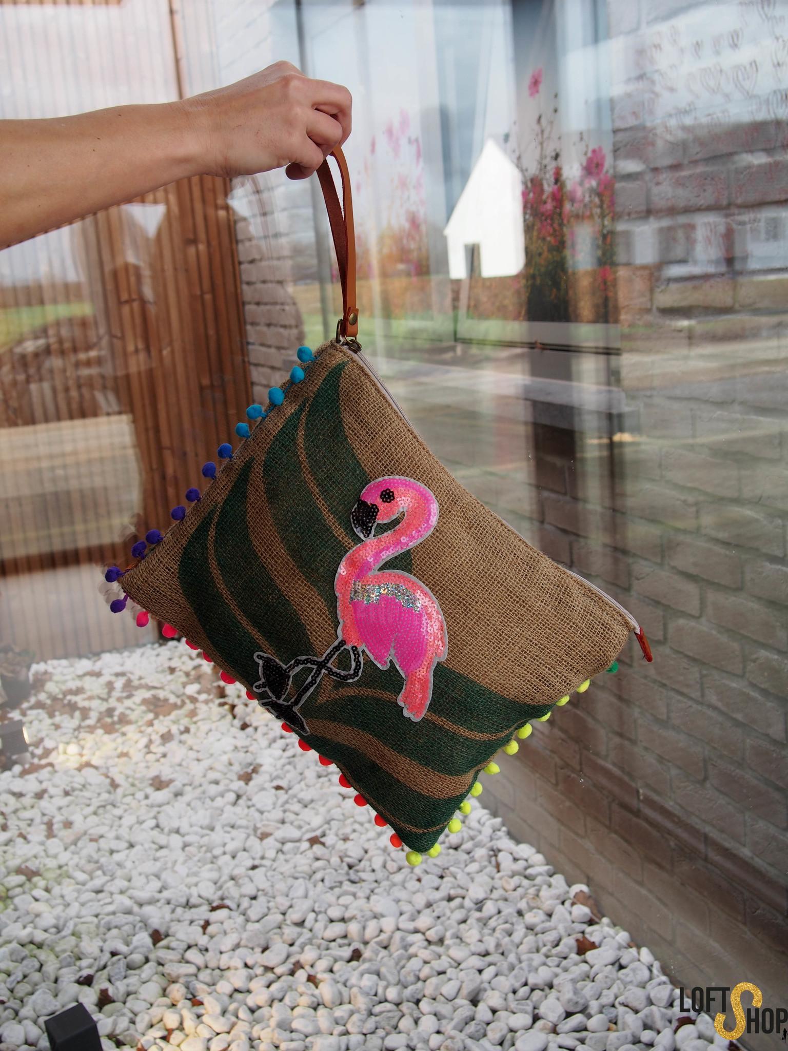 Beachbag flamingo