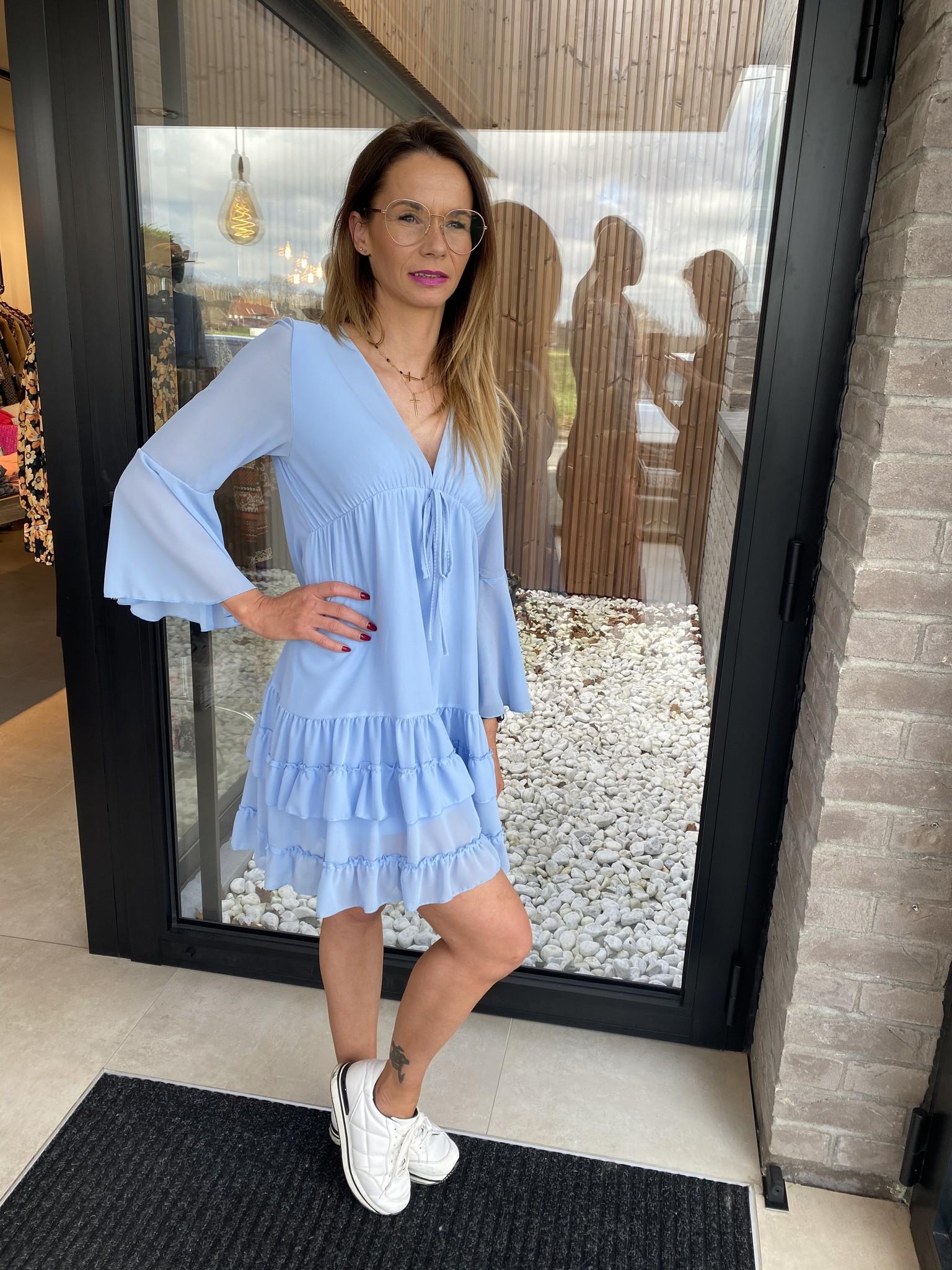 Dress Mathilde frill lightblue TU