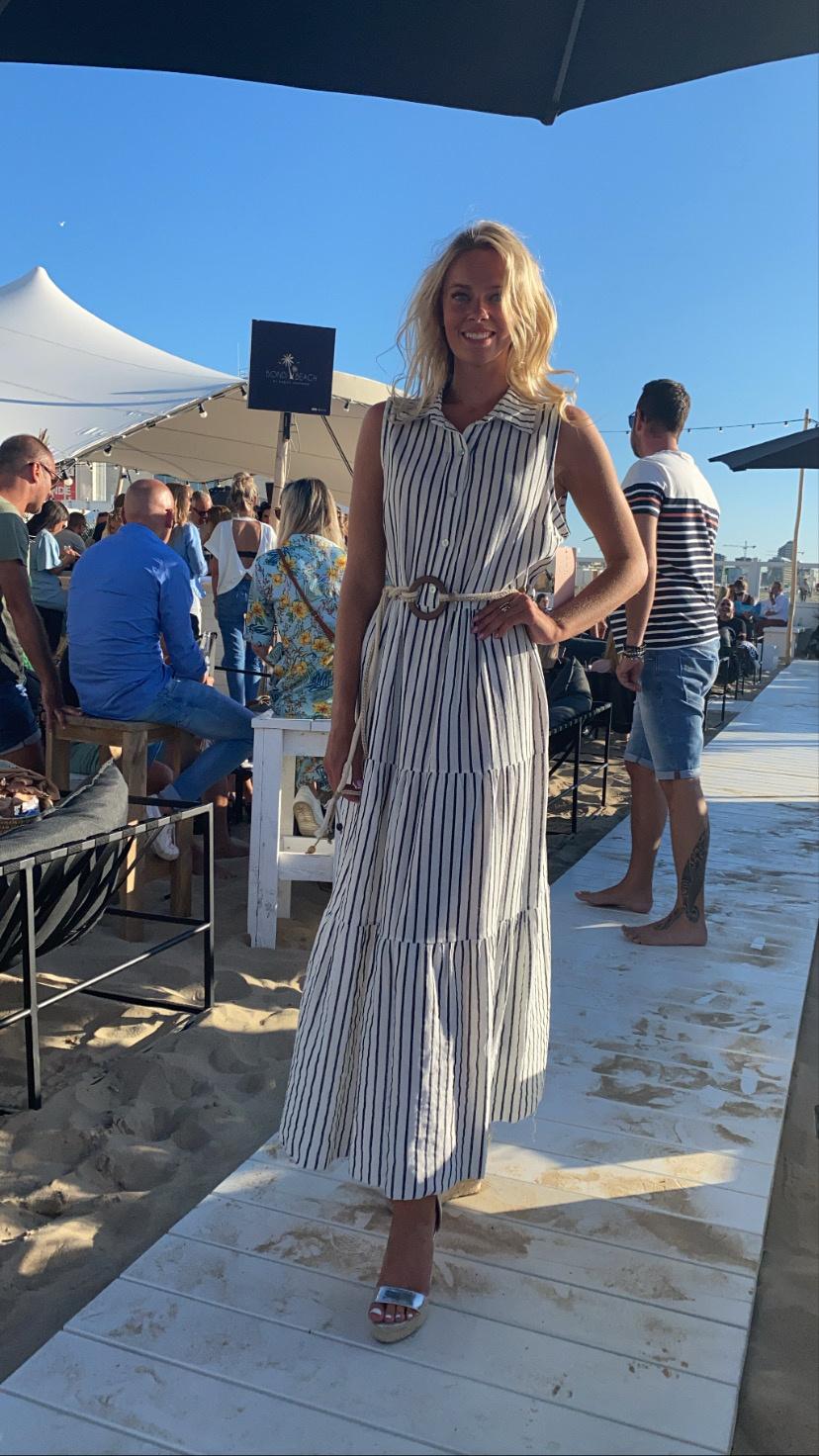 Dress Josine Stripe Blauw.