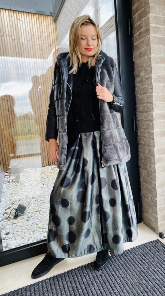 Skirt Billy long Kaki/zwart TU