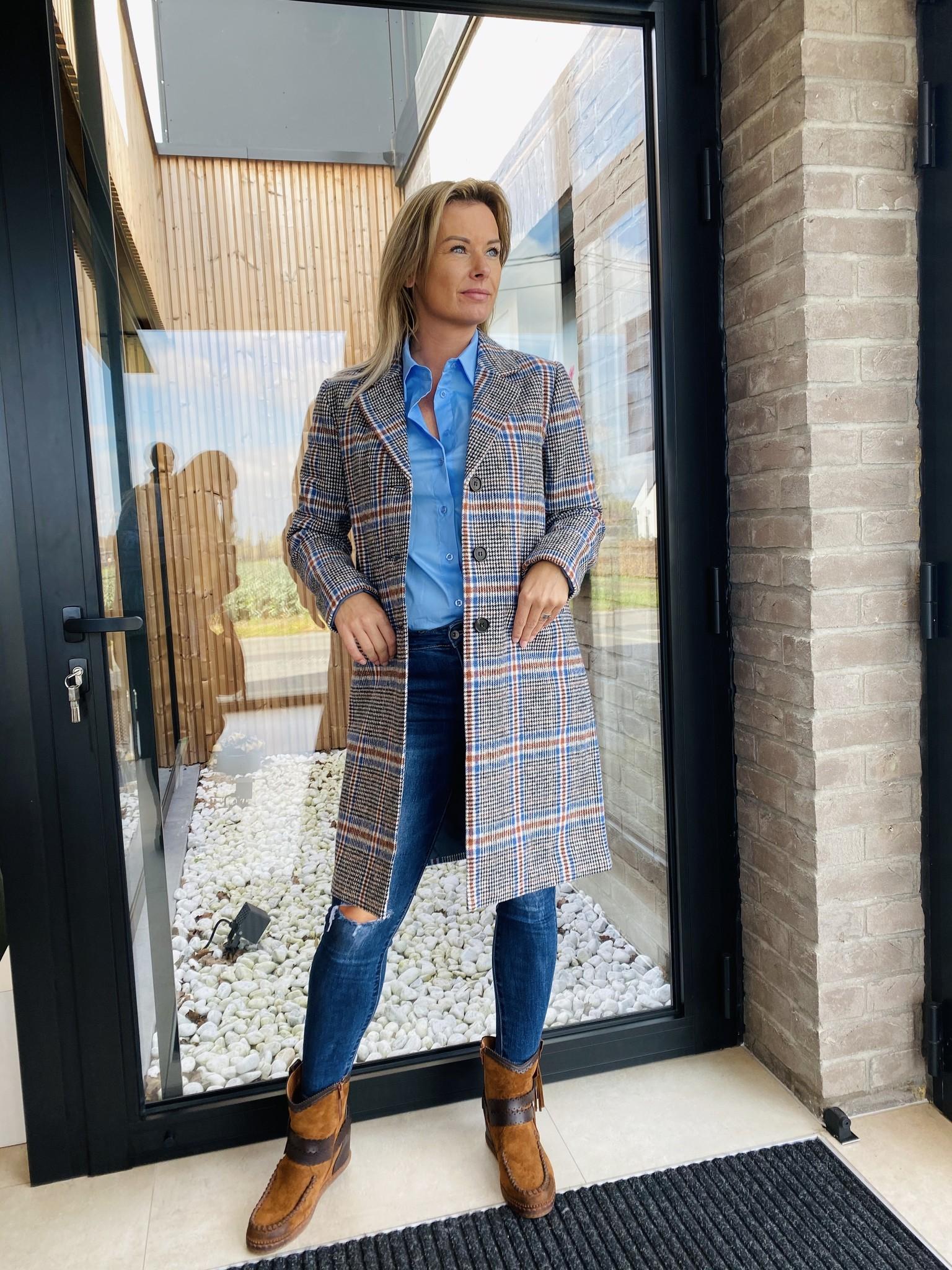 Coat Cana Blue Blue Check