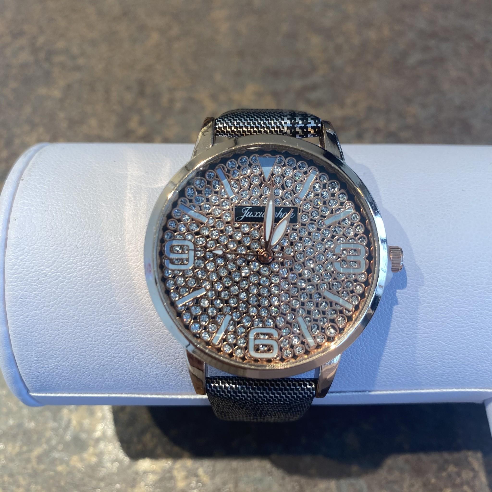 Horloge rosegold pied de poule silver