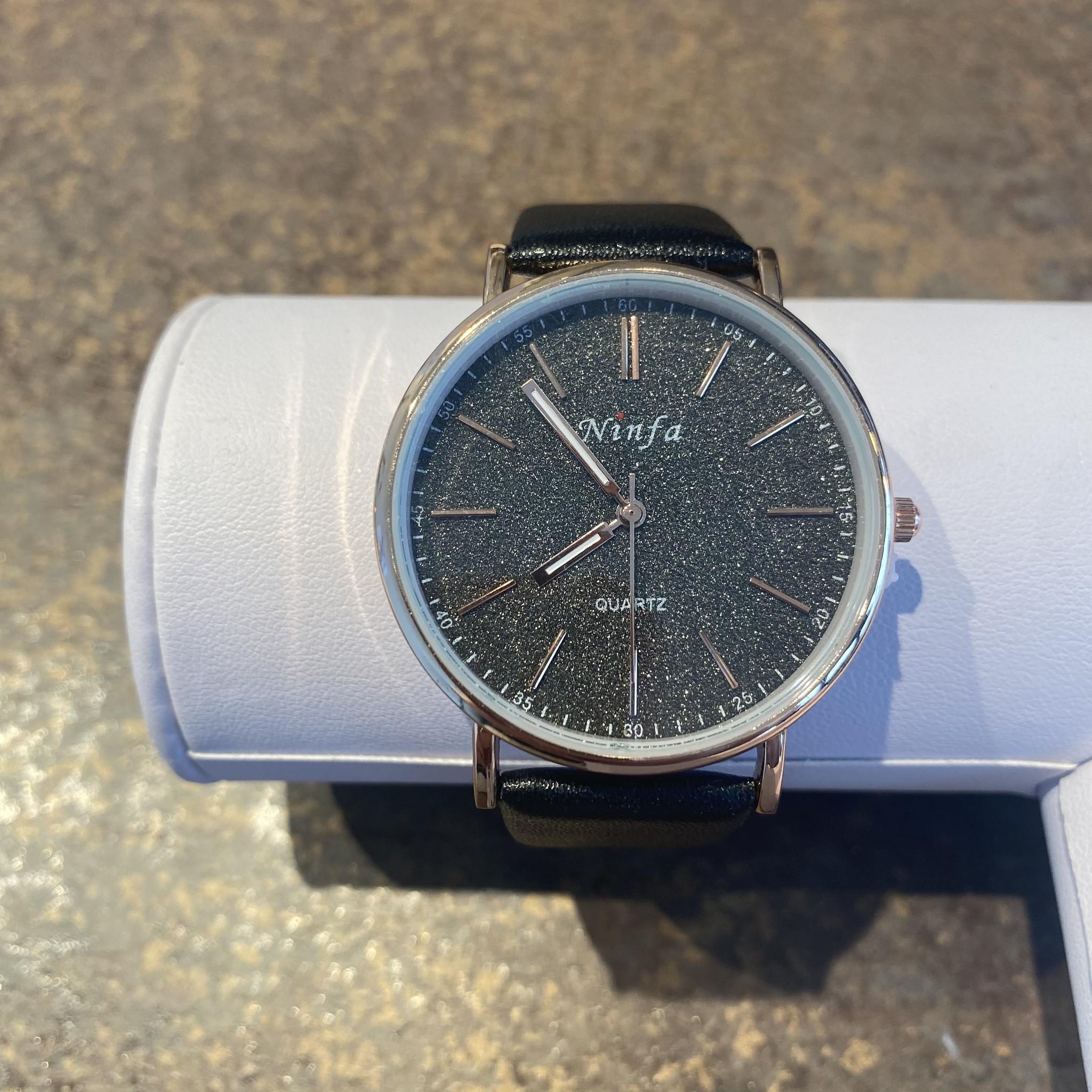 Horloge rosegold diamond black