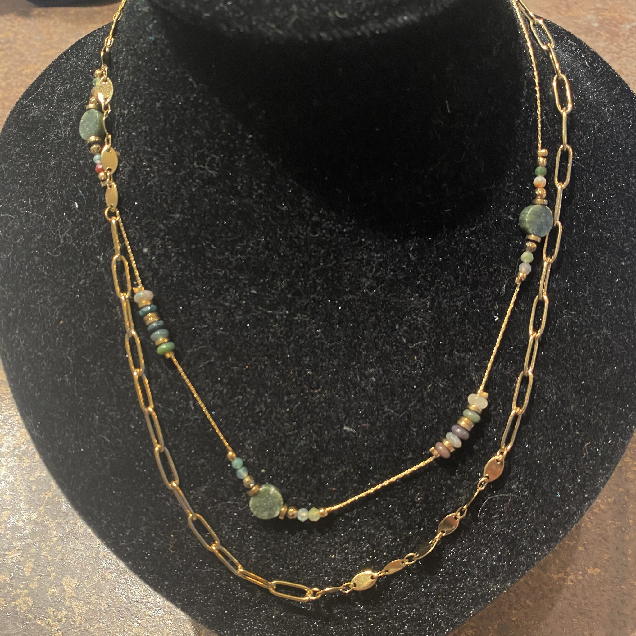 Necklace gold green