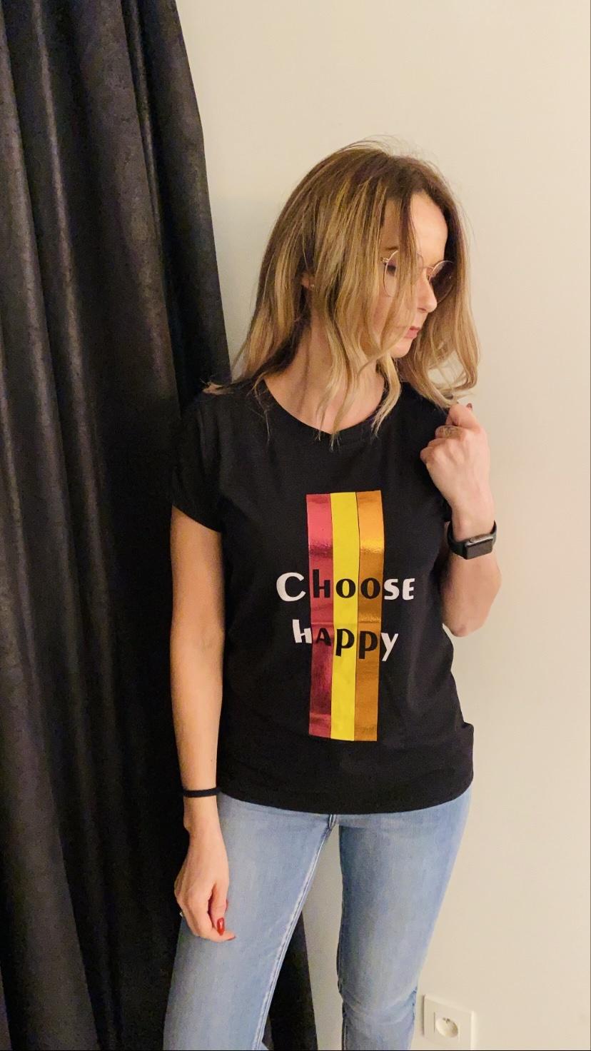T-shirt choose happy zwart TU