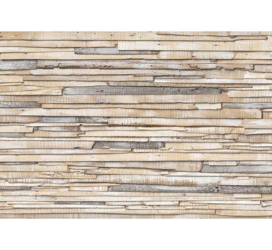 Whitewashed Wood Fotobehang 368x254cm 8-delig