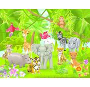 Papermoon Jungle Dieren Vlies Fotobehang 250x180cm