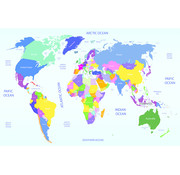 Papermoon Wereldkaart Vlies Fotobehang 250x180cm
