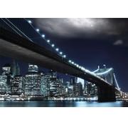 Papermoon Brooklyn Bridge 's Nachts Vlies Fotobehang 350x260cm