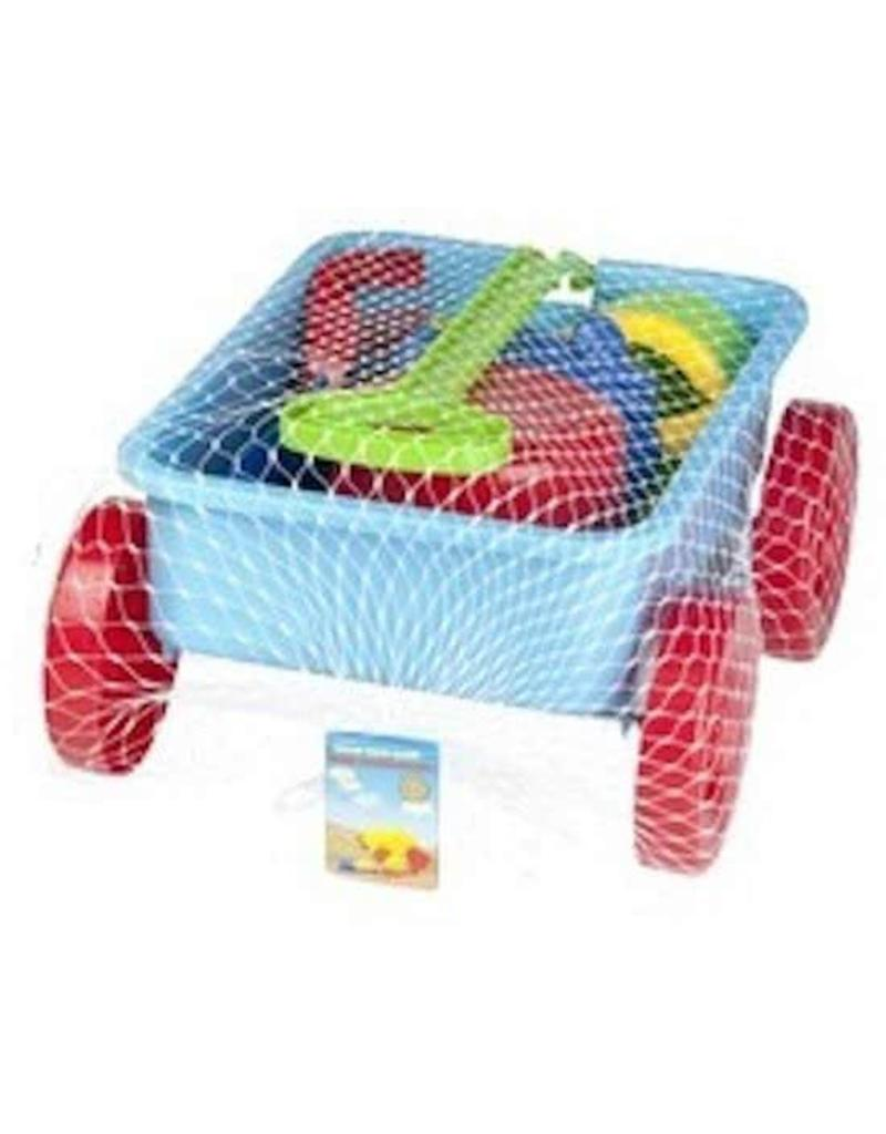 Eddy Toys Trekwagen Zandspeelgoed Blauw 7-delig