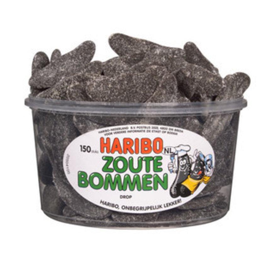 150 stuks HARIBO Zoute Bommen - Voorraademmer voor thuis, kantoor of onderweg