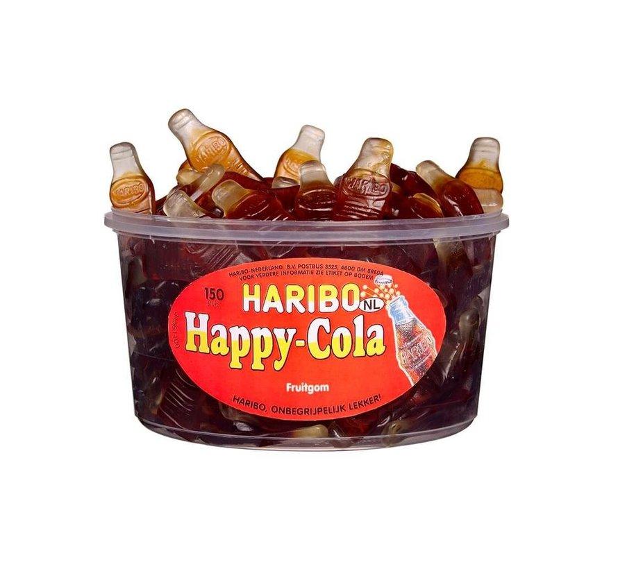 150 stuks HARIBO Happy Cola Flesjes - Voorraademmer voor thuis, kantoor of onderweg