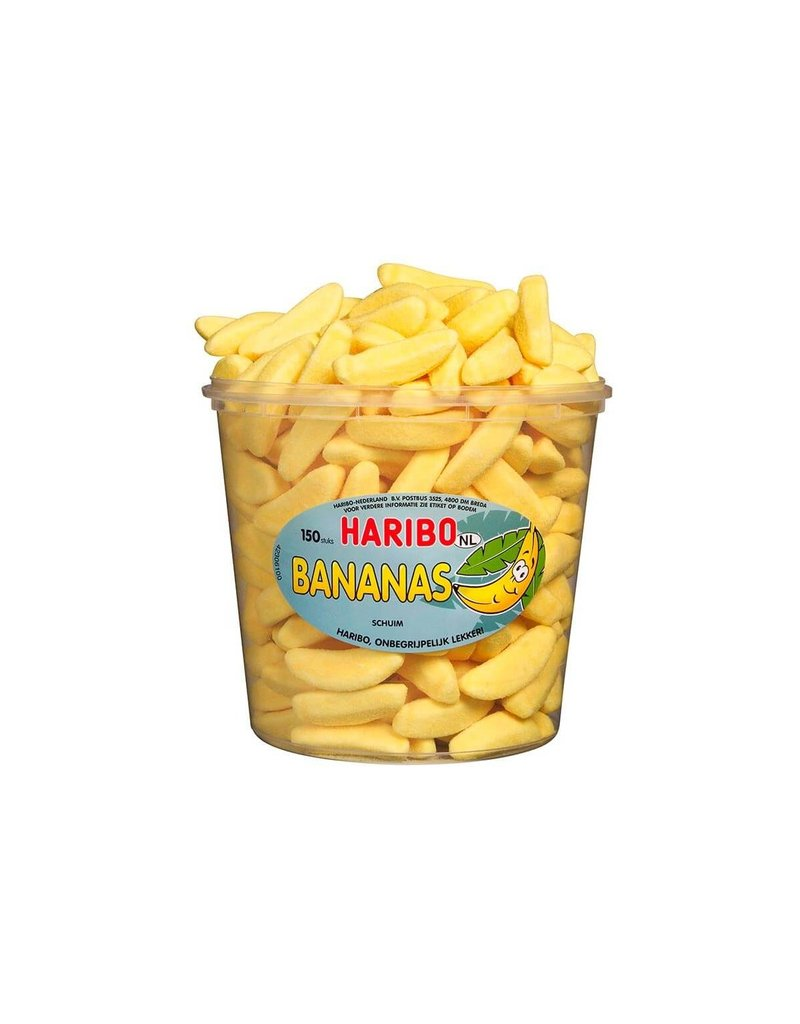 Haribo 150 stuks HARIBO Bananas - Voorraademmer voor thuis, kantoor of onderweg