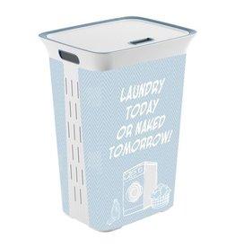 Kunststof wasmand Kis 60 liter | Kleur blauw/wit met grappige tekst 35 x 44 cm | Hoogte 61 cm