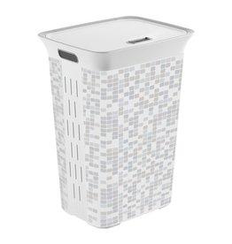 Wasmand 60 liter wit/grijs geblokt 44 x 35 cm | Hoogte 61 cm | inclusief deksel