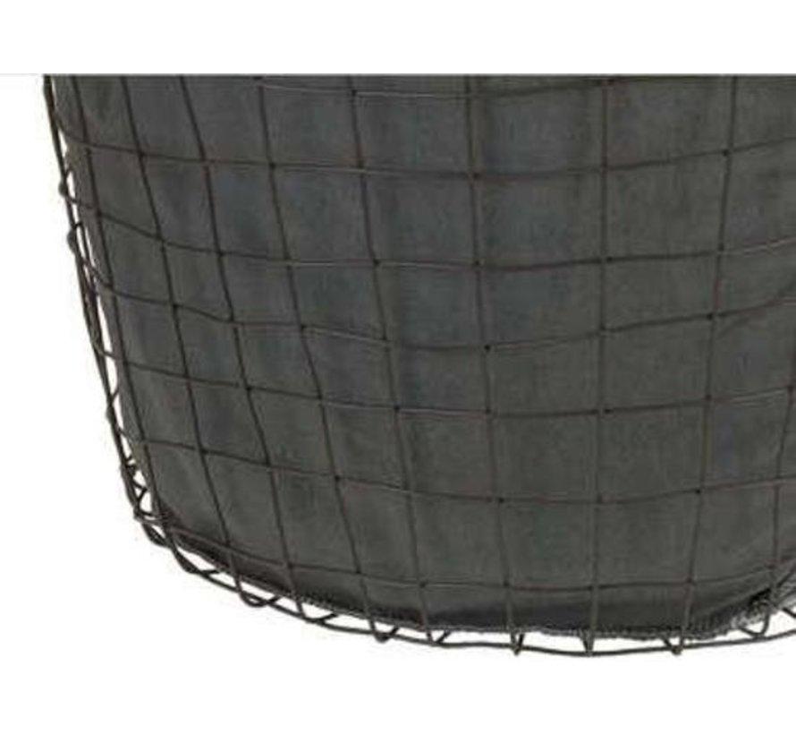 Metallgitterkorb mit Grau Polsterung - Durchmesser 53 cm - 40 cm Höhe