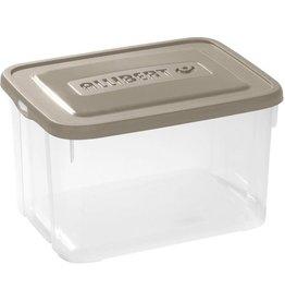 ALLIBERT Handy Box Opbergbox \ Opbergdoos transparant met Taupe deksel 50 liter - Set van 3 stuks
