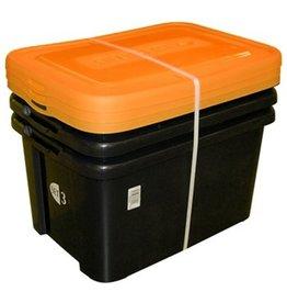 ALLIBERT Handy Box Opbergbox 50 liter - Zwart \ Oranje set van 3