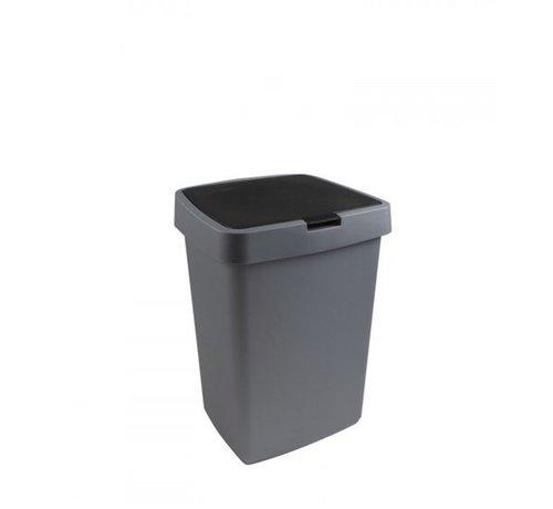 Sunware Delta Prullenbak \ Afvalbak met Klepdeksel 25 Liter Zwart