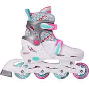 Nijdam Nijdam Junior Inline Skates Junior Adjustable - Hard Boot - White / Aqua / Fuchsia - 27-30