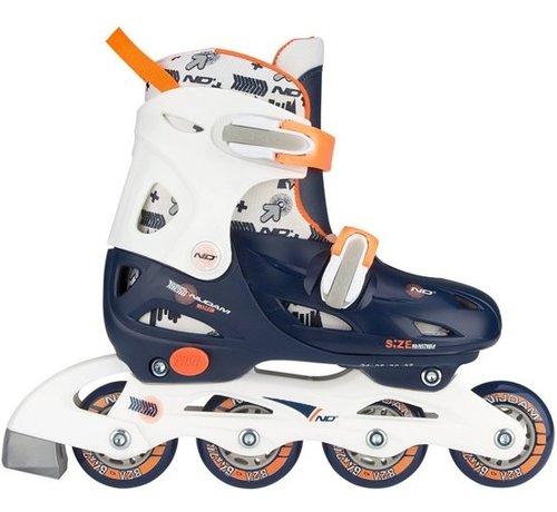 Nijdam Nijdam Junior Inline Skates Junior Adjustable - Hard Boot - Navy / weiß / orange - 27-30