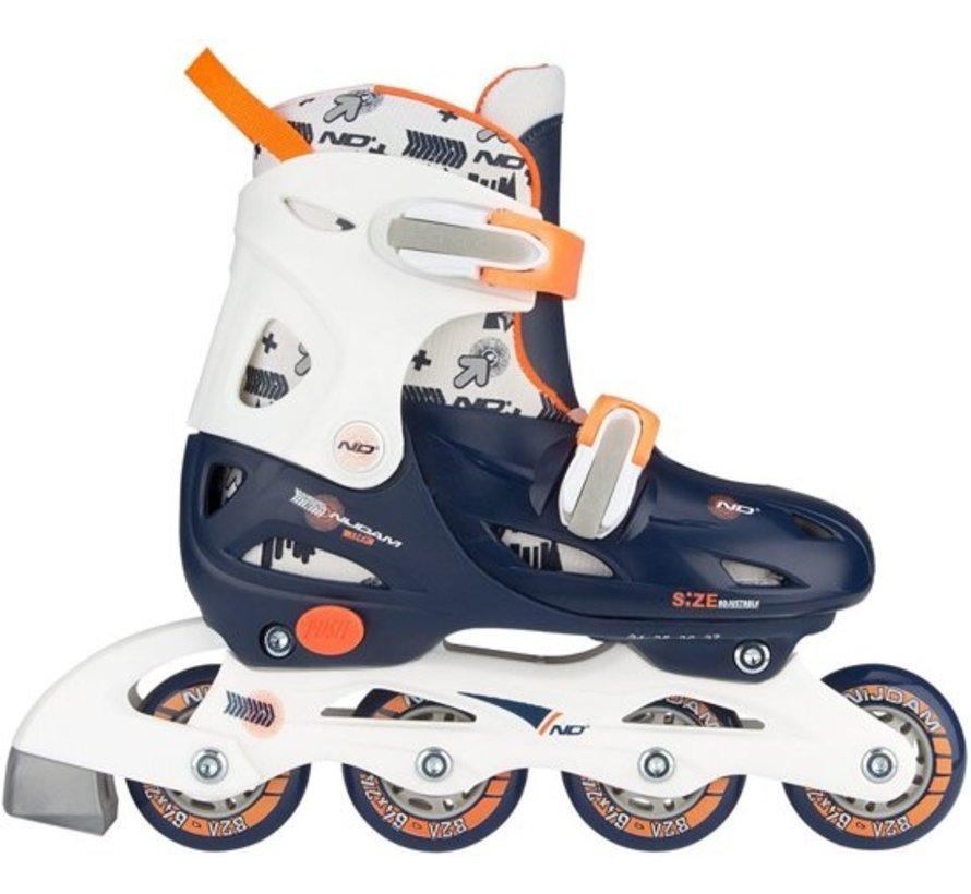 Nijdam Junior Inline Skates Junior Adjustable - Hard Boot - Navy / weiß / orange - 27-30