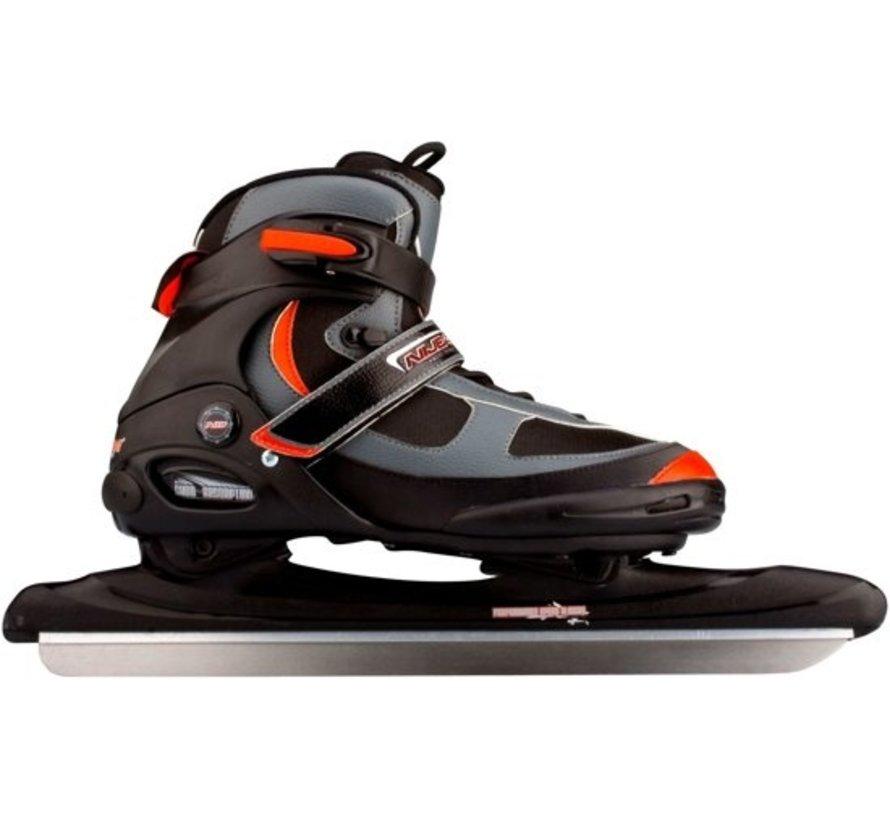 Nijdam 3423 Norwegians skate - Semi Soft Boot - Black / Charcoal / Red - Size 41