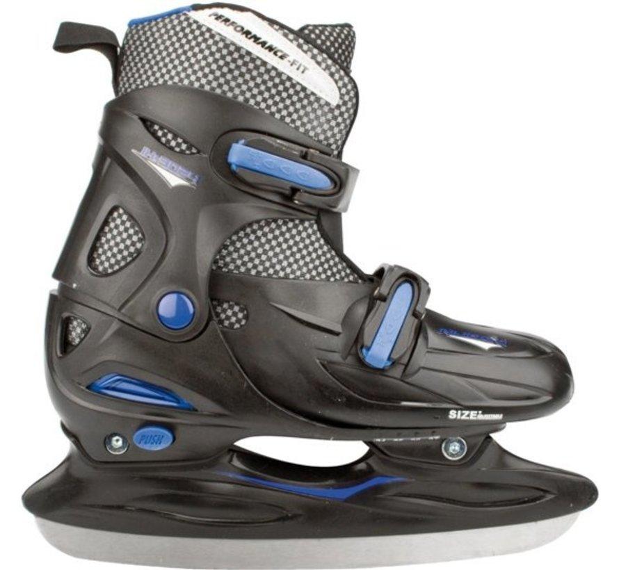 Nijdam 3024 Junior Hockey Skates - Einstellbare - Hard Boot - Schwarz / Blau - Größe 30-33
