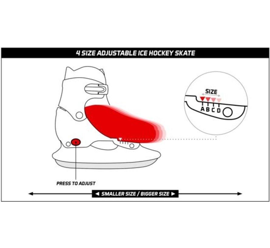 Nijdam 3024 Junior Ice Hockey Skates - Adjustable - Hard Boot - Black / Blue - Size 30-33