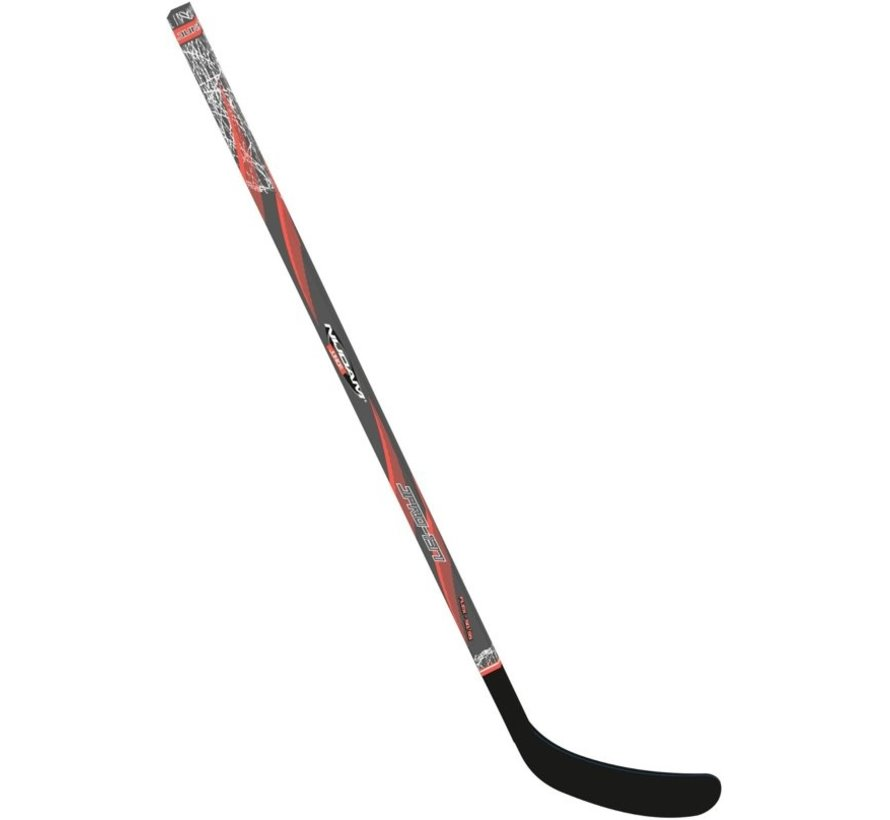 Nijdam Ice Hockey Stick Wood / Fiberglass Jr - 137 cm - Anthracite / Neon Orange / Silver - Links