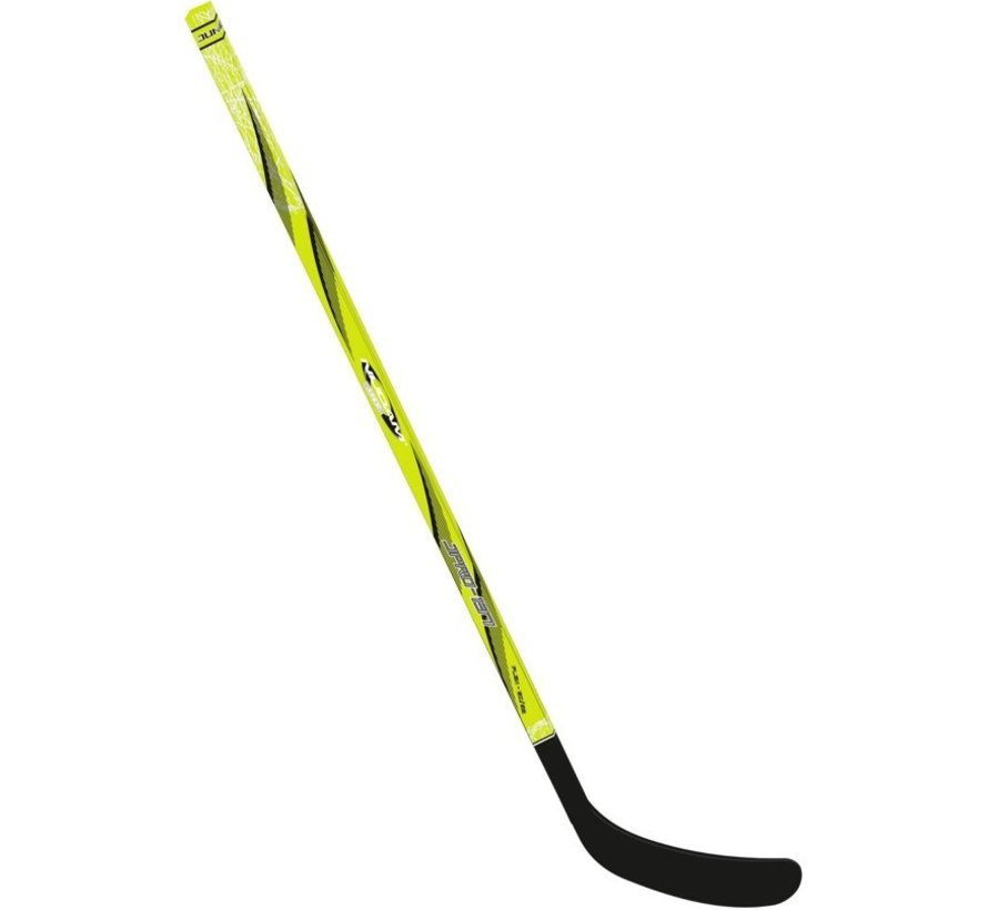 Nijdam Ice Hockey Stick Wood / Fiberglass Jr - 137 cm - Neon Yellow / Anthracite / Silver - Links