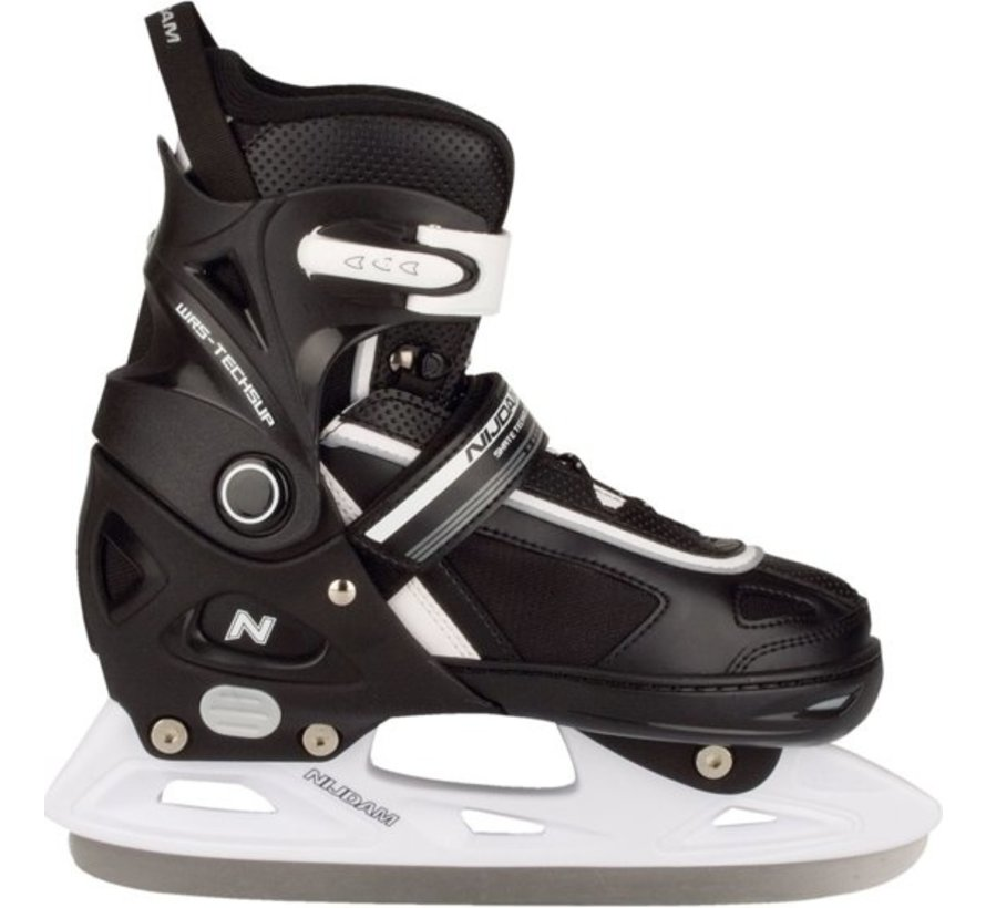 Nijdam 3170 Junior Ice Hockey Skates - Adjustable - Semi Soft Boot - Black - Size 37-40
