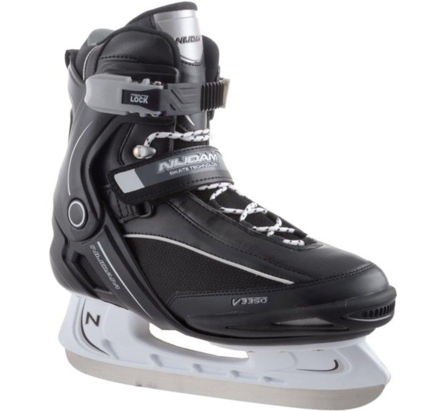 Nijdam 3350 Ice Hockey Skates - Semi Soft-Stiefel - Schwarz / Weiß - Größe 42