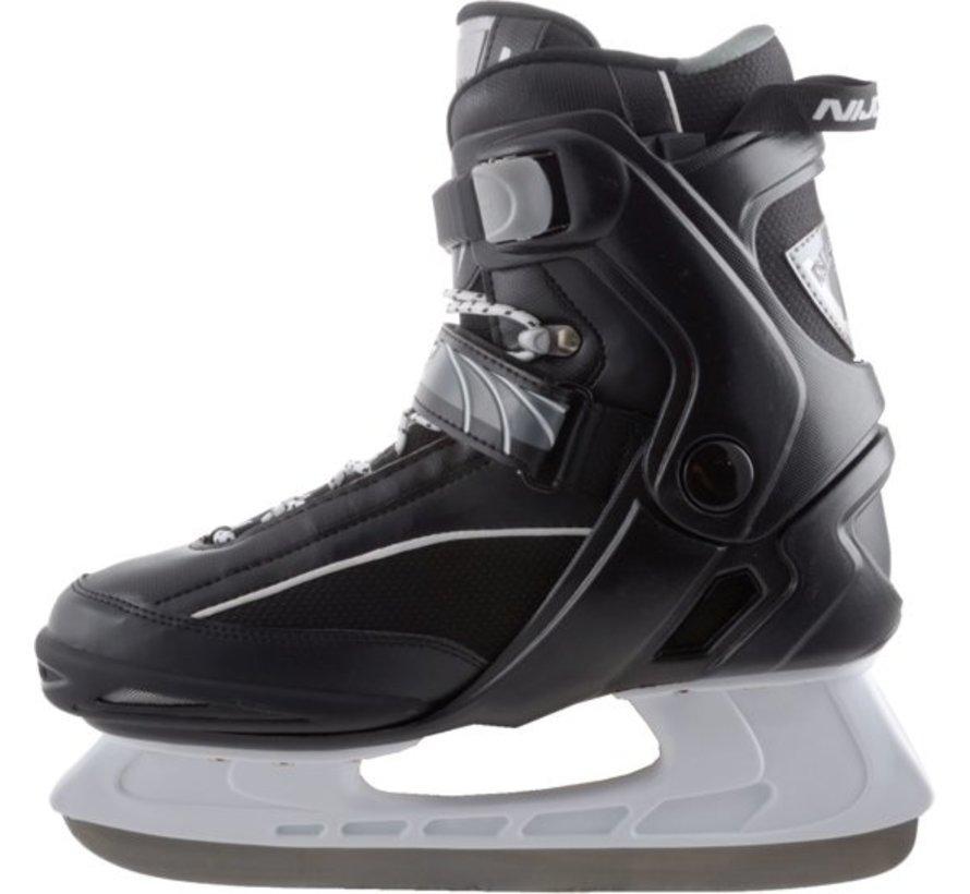 Nijdam 3350 Ice Hockey Skates - Semi Soft Boot - Black / White - Size 42