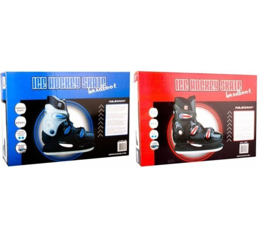 Nijdam 0089 Ice Hockey Skates - Hard Boot - Black / Blue - Size 37