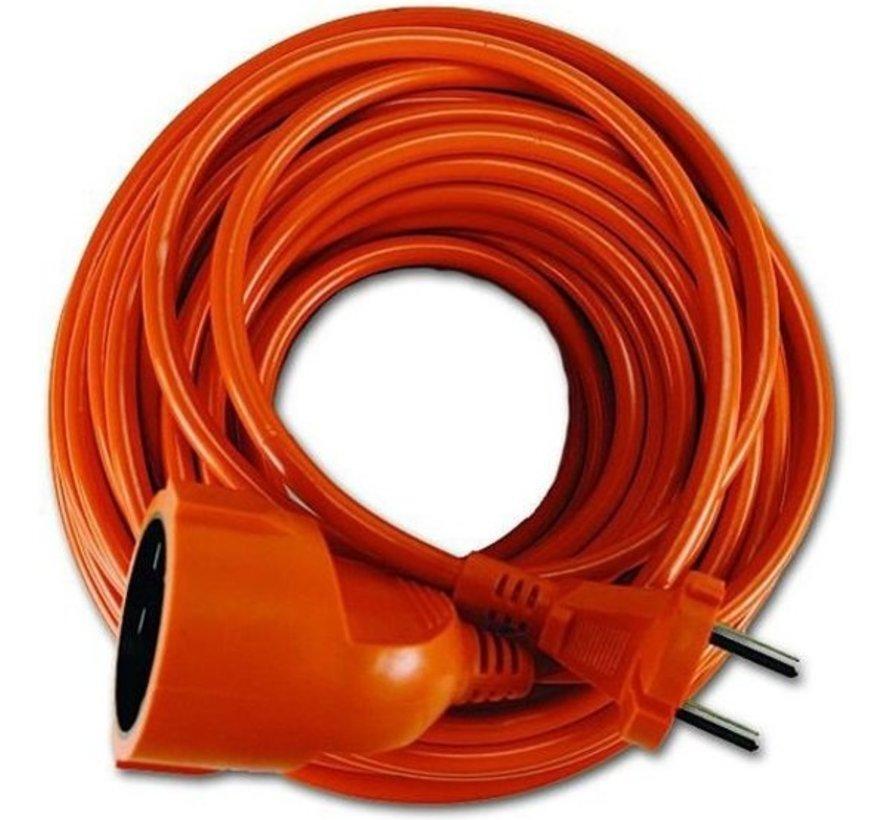 Oranje Verlengsnoer 2 x 1-20 meter.