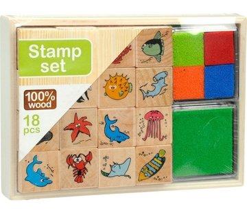 Holz Stempel-Set - Zoo
