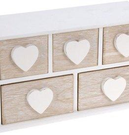 Klein houten kastje met 5 lades