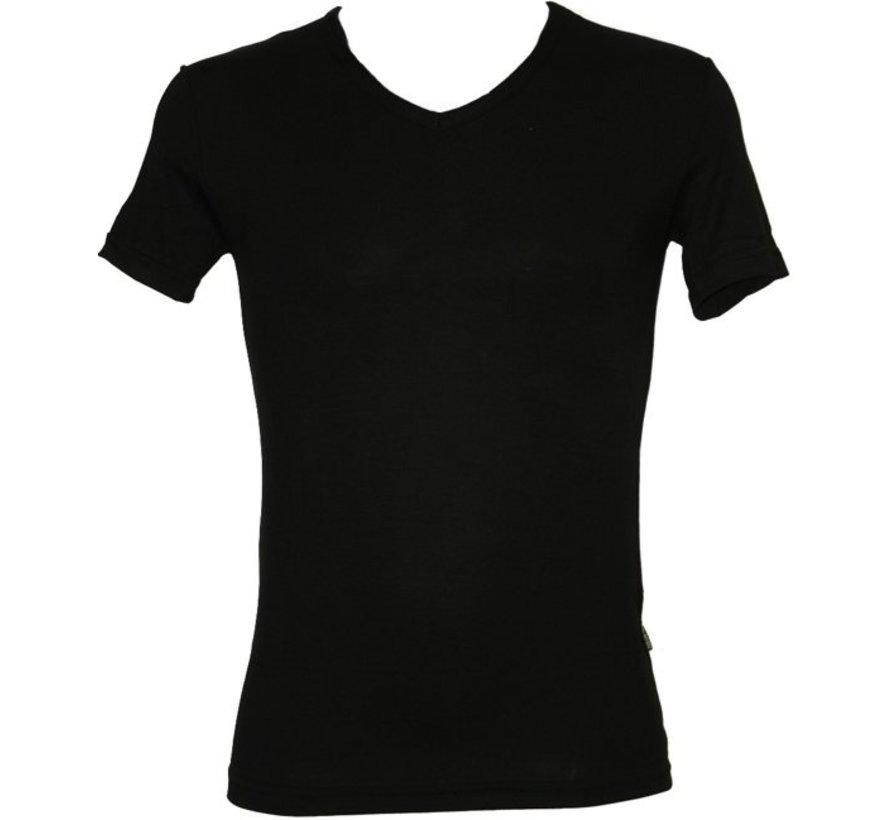 Boru Bamboe Heren T-Shirt V-Hals Zwart- x l