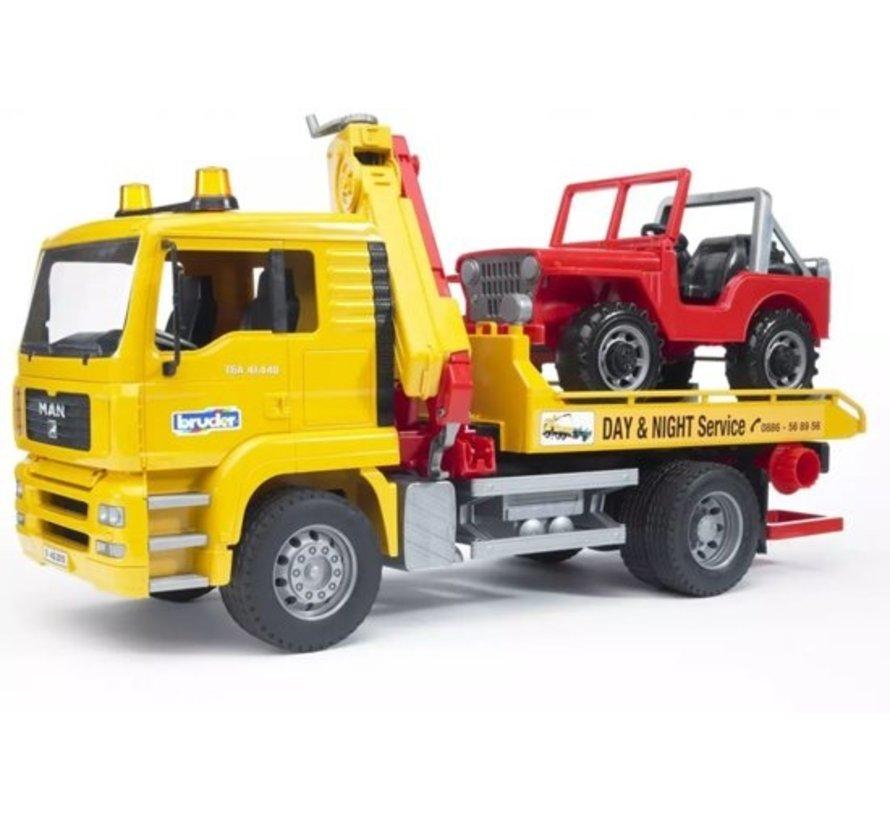 Bruder 0750 - Man Tga Takelwagen met Cross Country Voertuig - Speelset