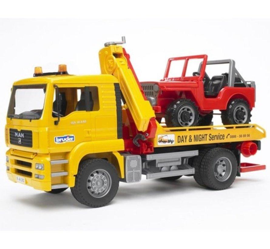 Bruder 0750 - Man Tga Abschleppwagen mit Querland-Träger - Spielset