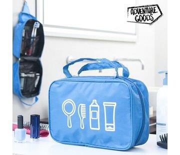 Blauwe olyester Toilettas met 10 vakken en handig ophangsysteem