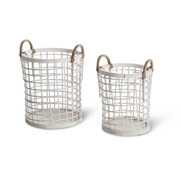 Set Of 2 White Bamboo Baskets Ø 31 cm and Ø 26 cm   Height 39 cm
