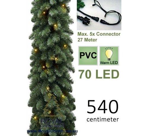 Guirlande met 70 warm LED lampjes geintegreerd - Lengte 540 cm - Max. 5x Koppelbaar - Kerst Slinger - 400 Takken