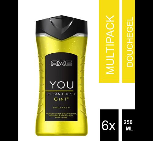 6-Pack Axe Bodywash 6 in 1 Fresh 250 ml