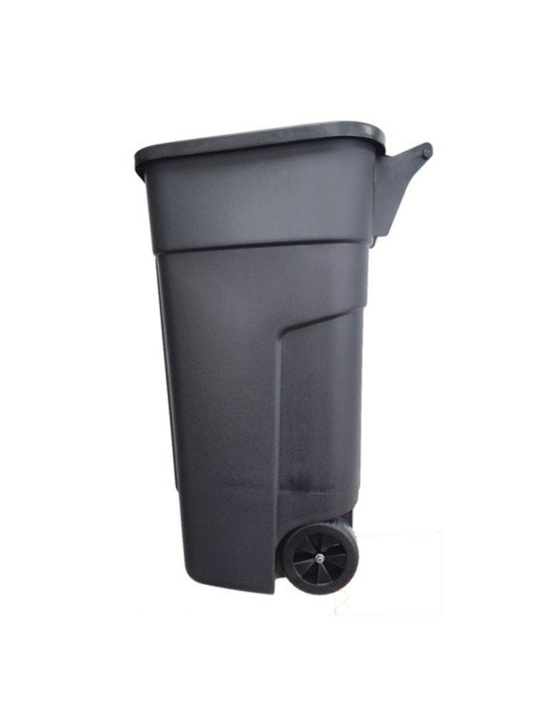 Afvalcontainer - 100 liter - Zwart - Met wielen - Hoogte 80 cm- Zonder deksel