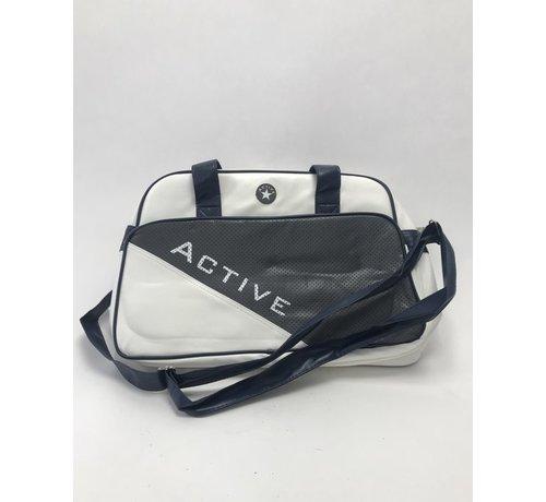 Aktive Sporttasche - Weiß mit Blau