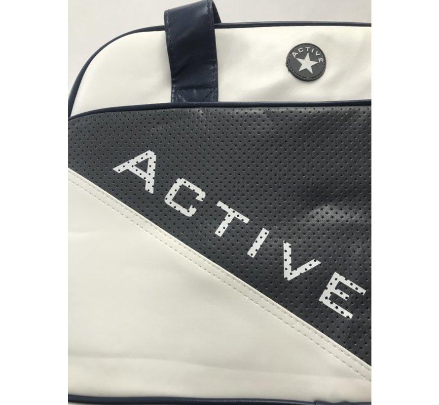 Active Sporttas - Wit met Blauw
